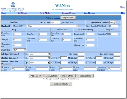 WANEm Web Console in Advanced Mode