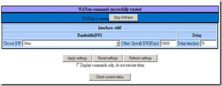 The WANEM Web console in basic mode